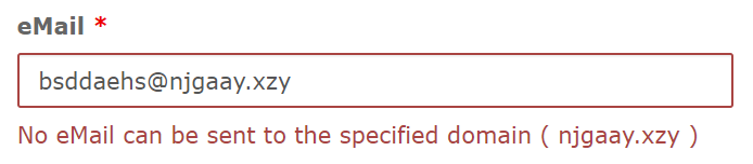 Error message when the eMail domain most likely can't recieve eMails.