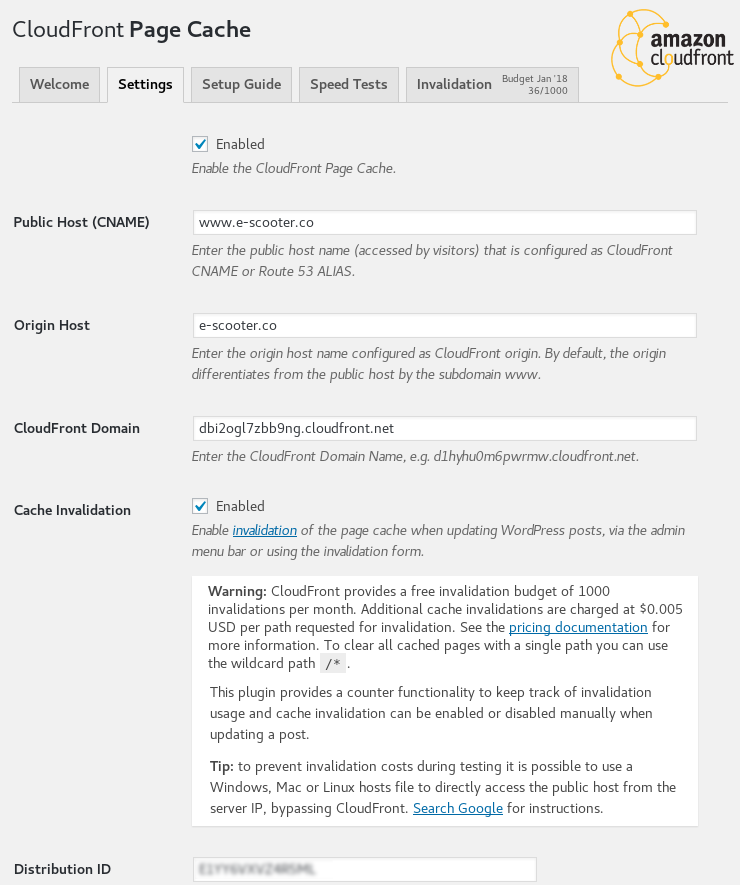 CloudFront Page Cache Settings