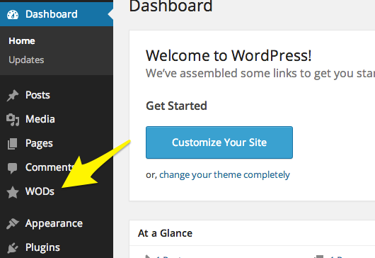 <p>Adds a WODs custom post type to the native WordPress Dashboard.</p>