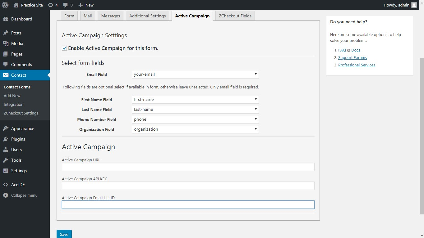 Connect ActiveCampaign Account to contact form 7.