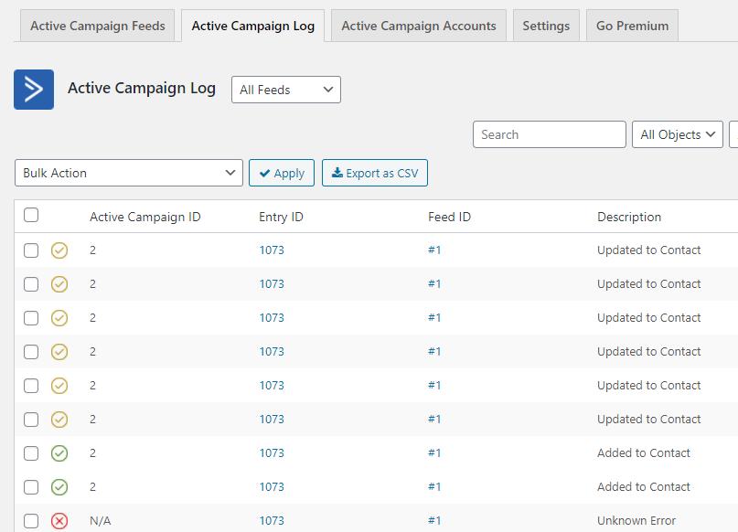 ActiveCampaign logs.