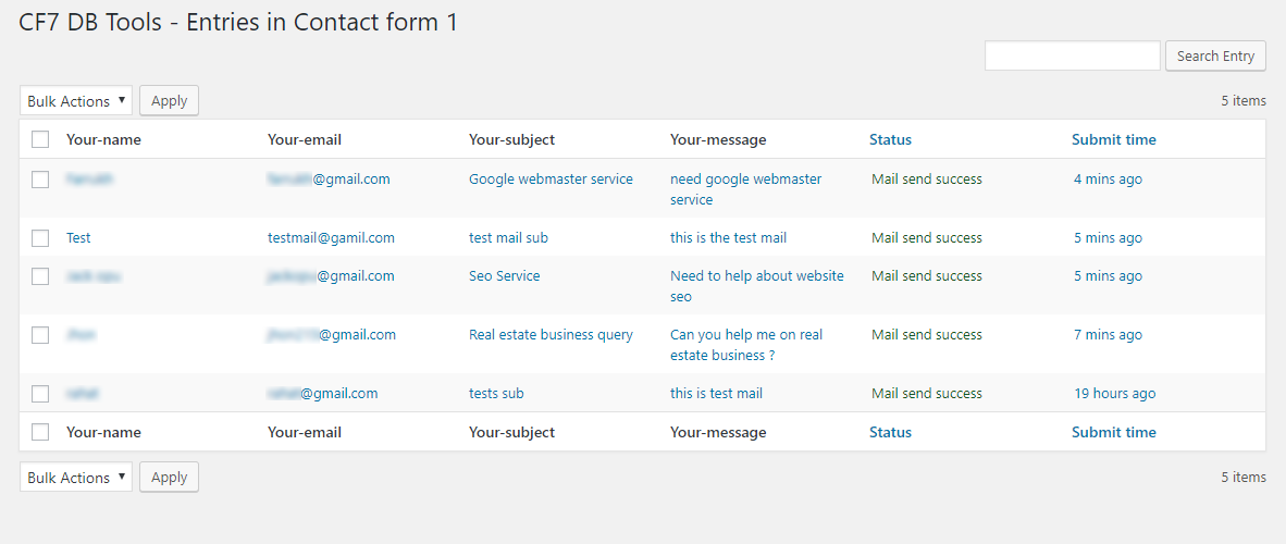 List of form submissions in this contact form