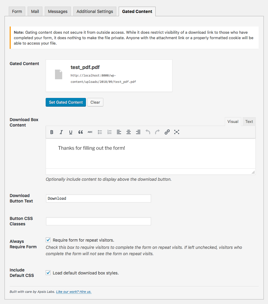 Contact Form 7 Gated Content