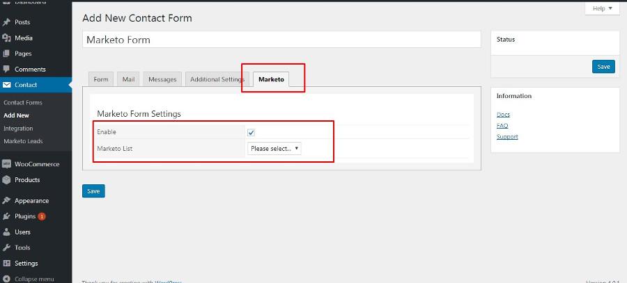 Marketo Enable Form Panel Settings