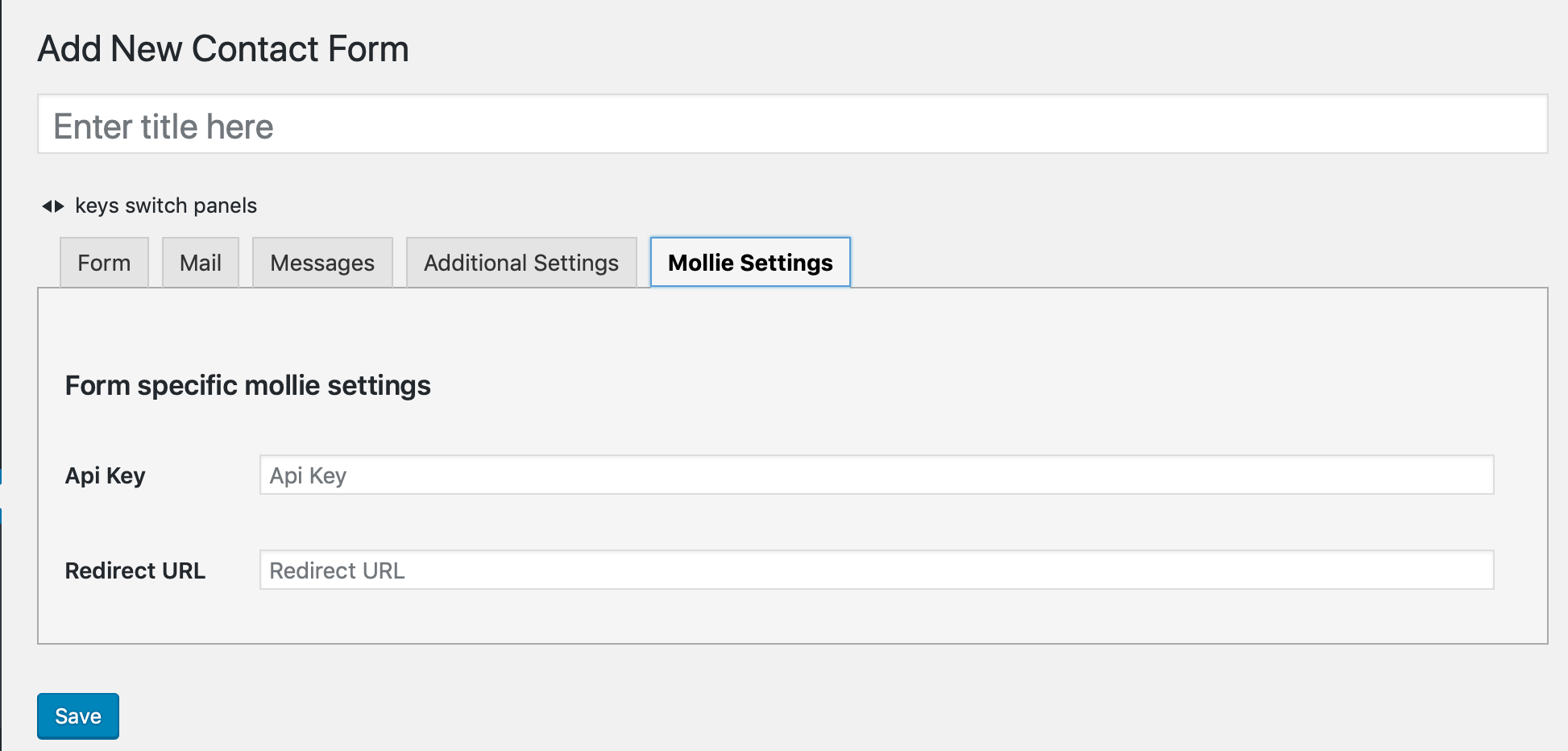 Form specific settings
