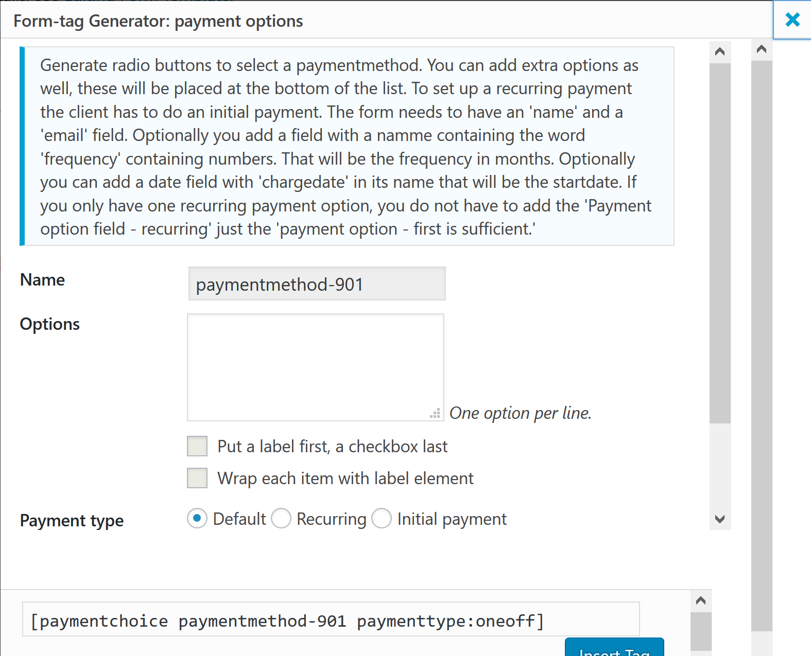 Payment options field