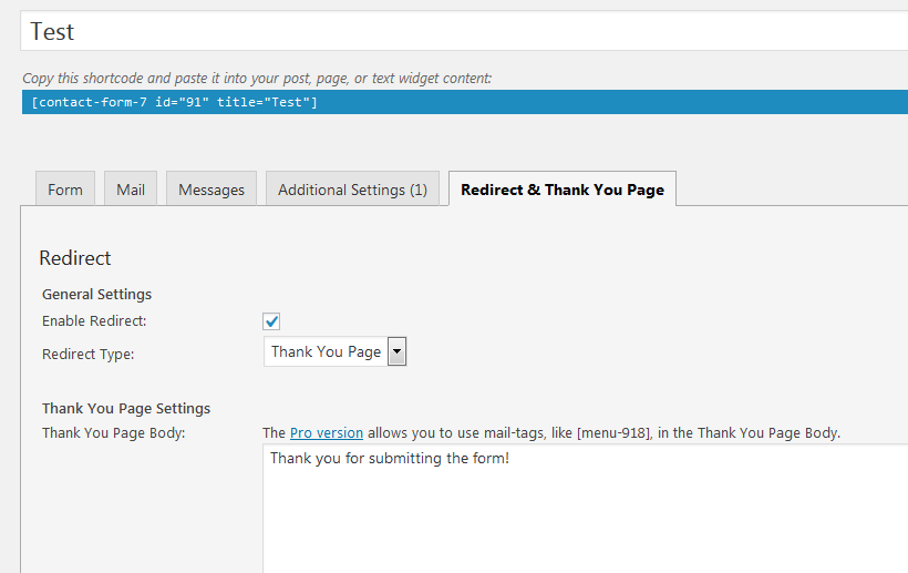 Thank You Page Redirect Settings