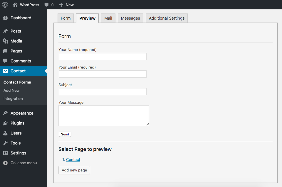 Contact Form 7 Preview