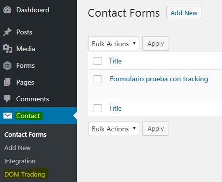 New menu entry in Contact after plugin is activated.