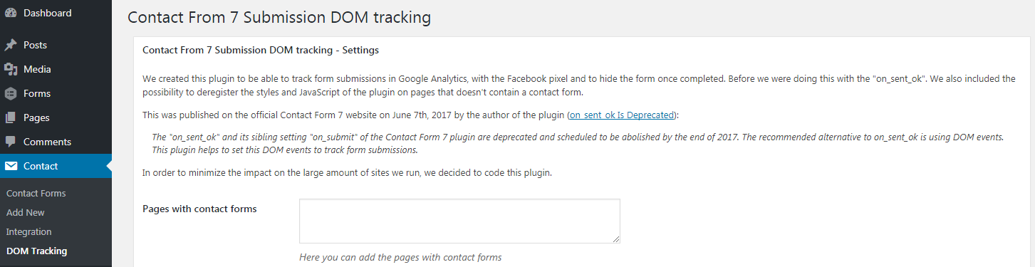 DOM Tracking under Contact menu