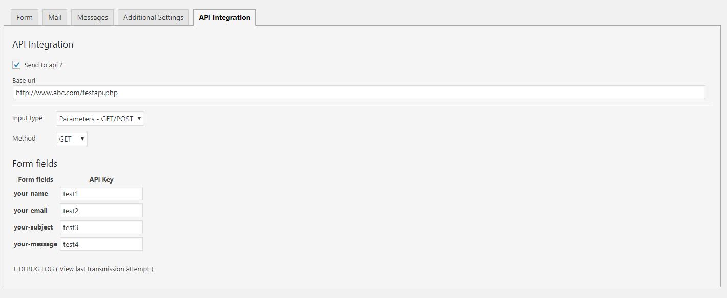 Contact form 7 TO API