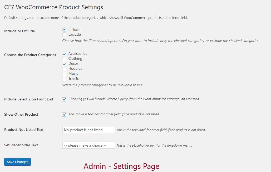 Admin View of the Settings Page