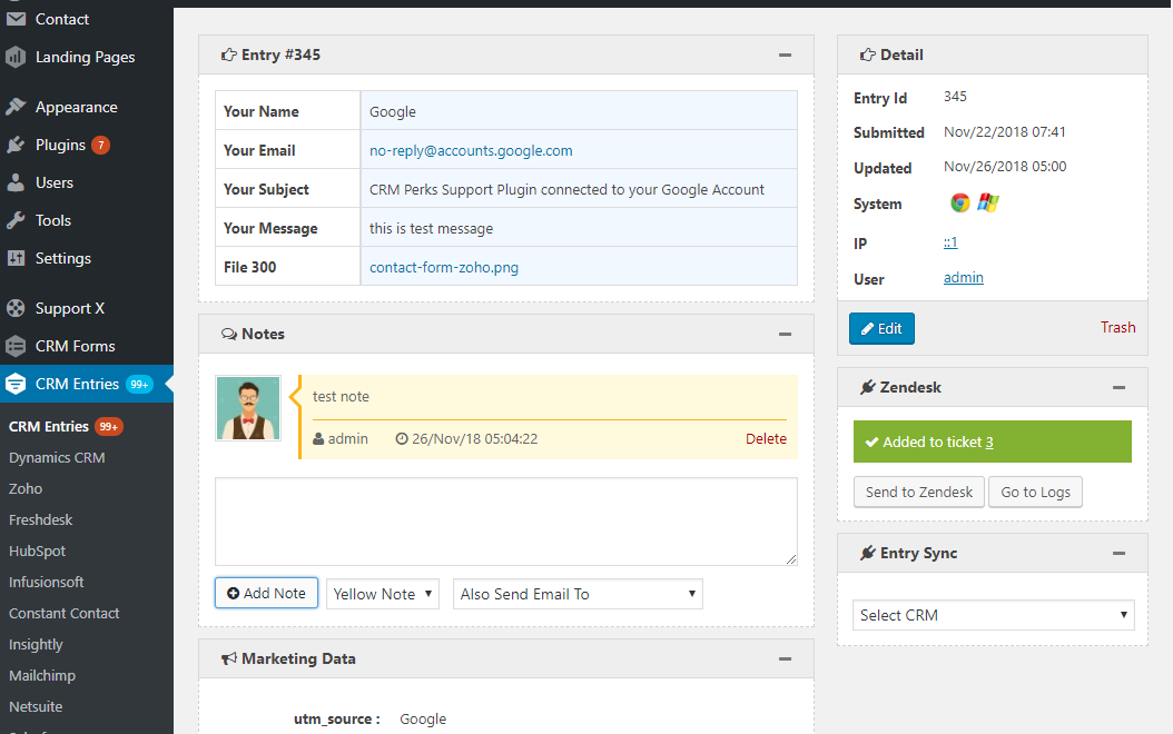 Send Contact form 7 entry to zendesk.