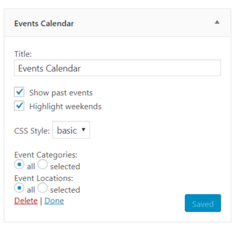 Events widget setup