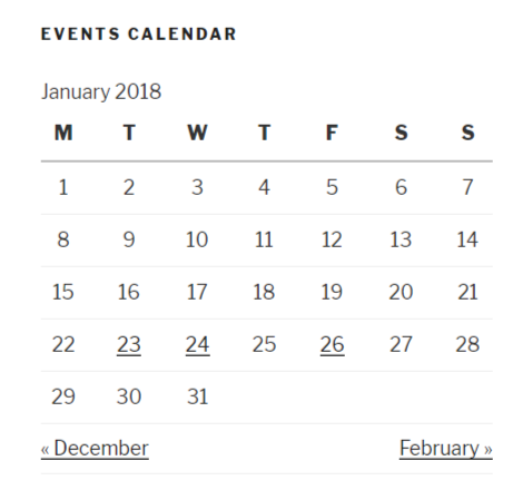 Events widget on the front end