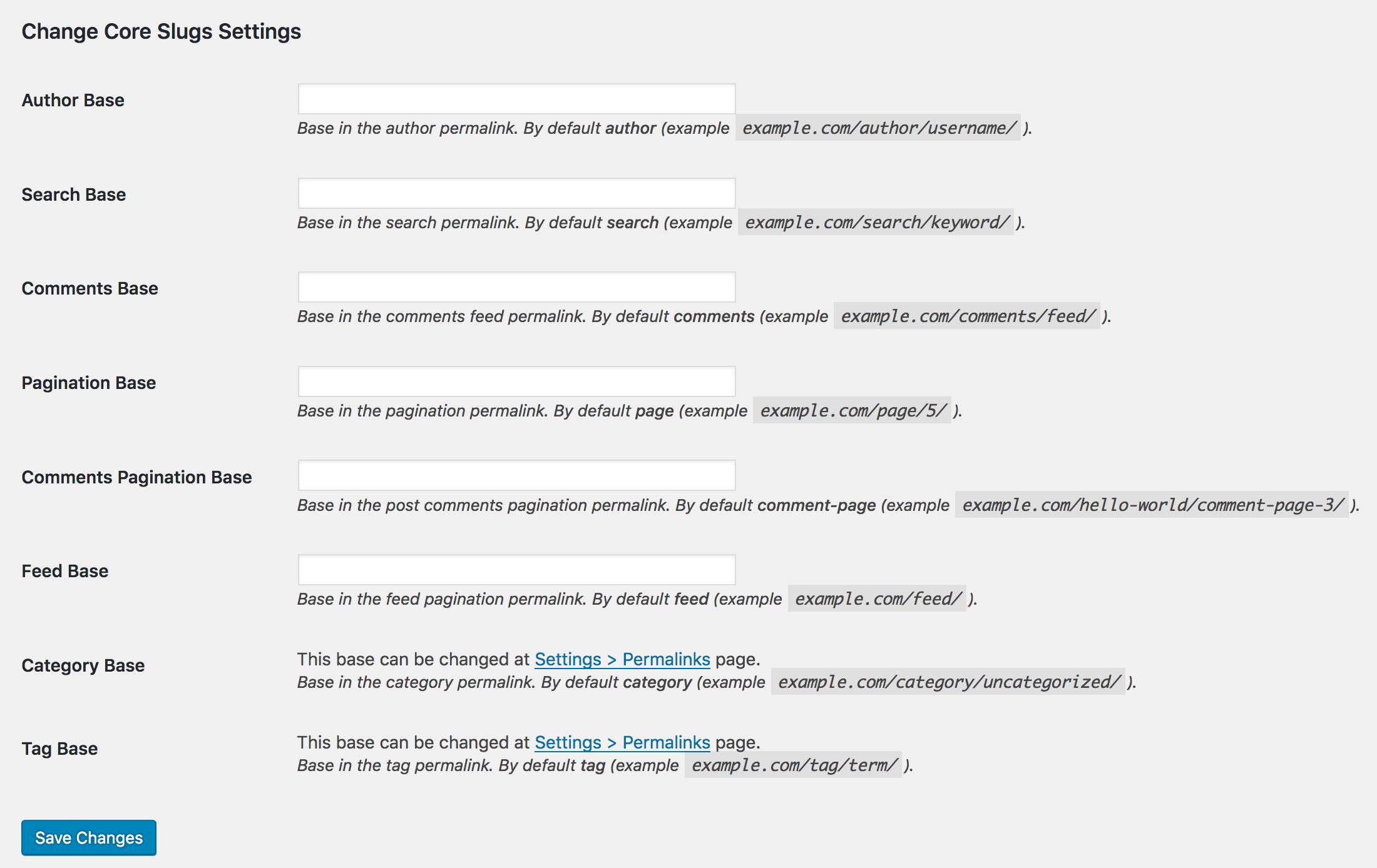 Change Core Slugs settings screen.