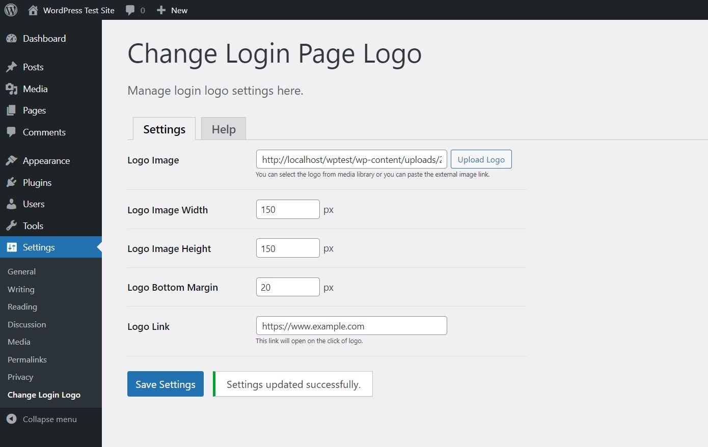 <strong>Settings Page</strong> - Here you can manage login logo settings.