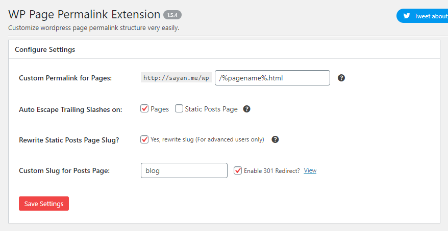 This is the admin area of WordPress Page Extension.