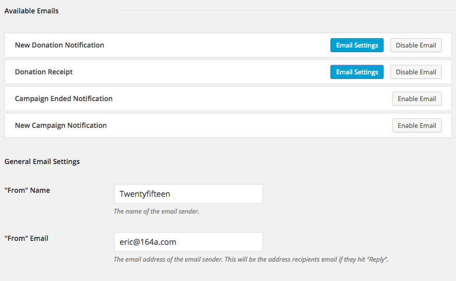 Setting up Charitable: The Email settings area.