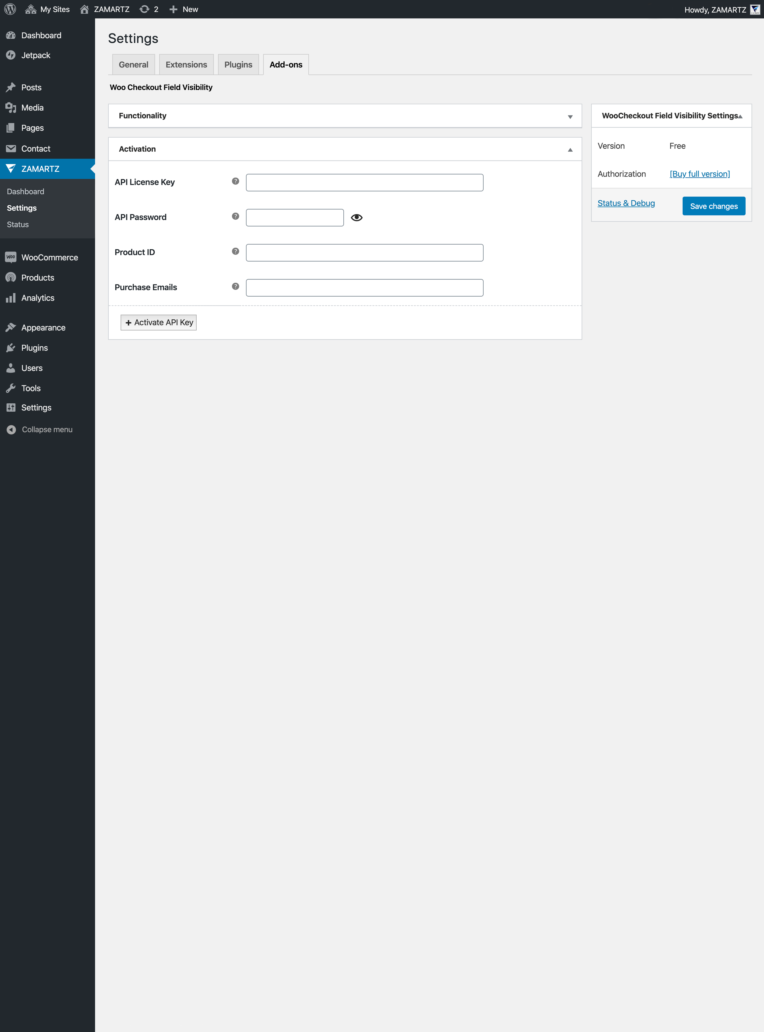 Free Site Settings AddOn Activation <code>/assets/screenshot-3.png</code>