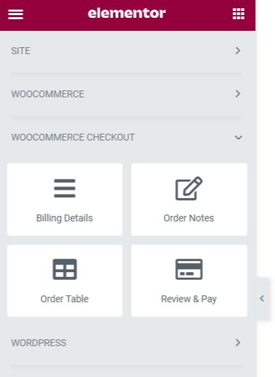 Elementer Widgets options