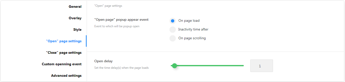 Popup Settings - Open page settings.