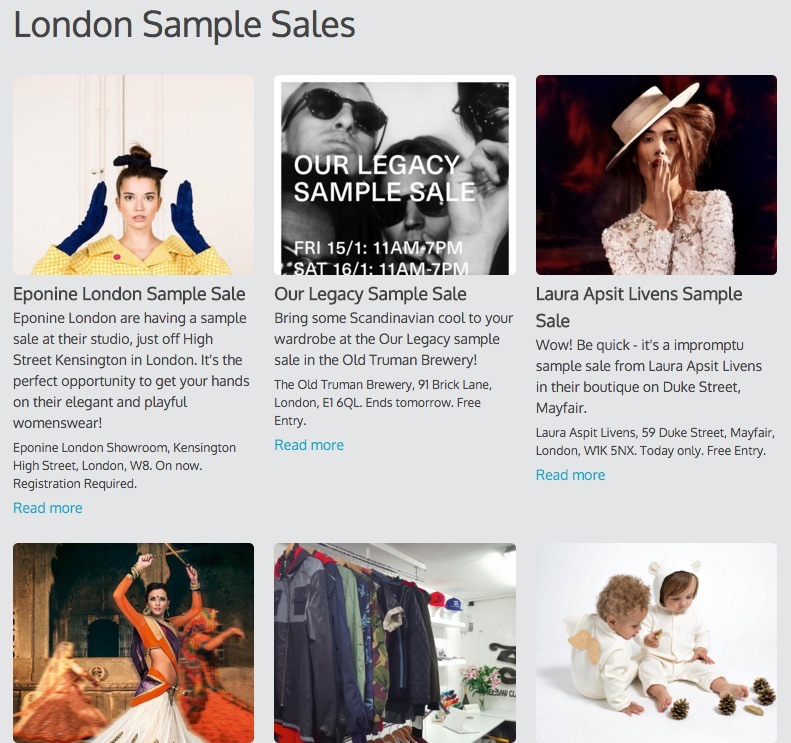A three column calendar showing only sample sales in London.