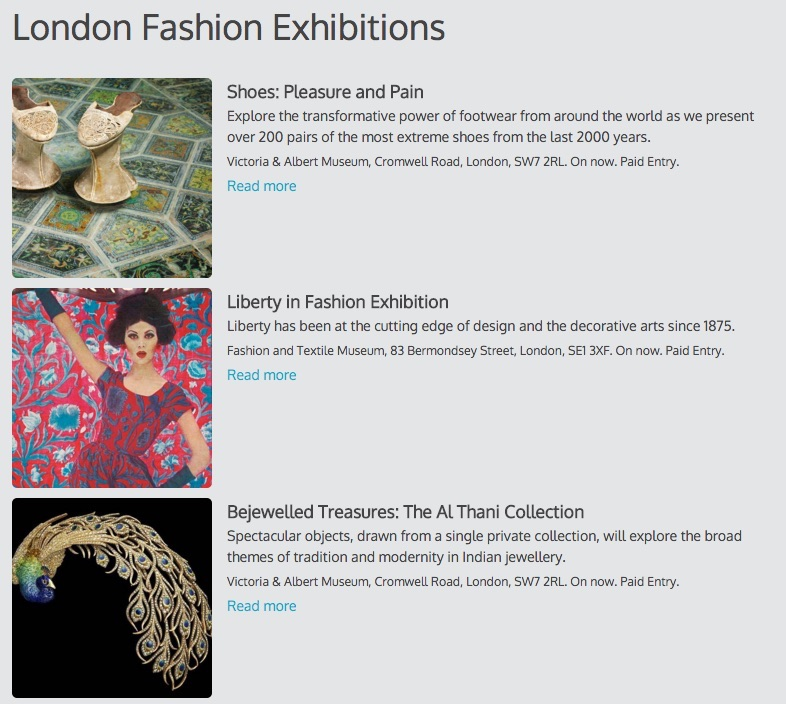 A single column calendar with the image to the left, showing London fashion exhibitions.