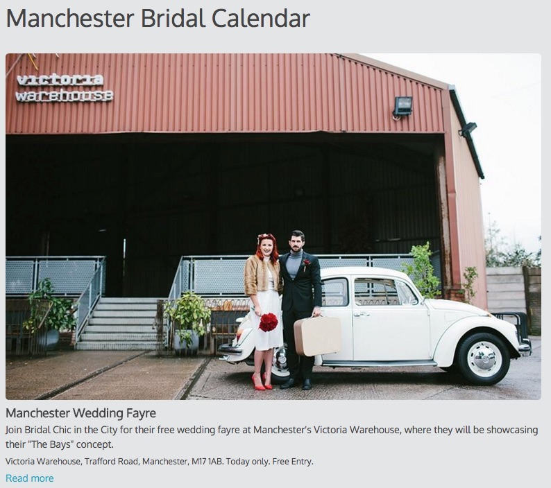 A single column calendar with an extra-large image, showing bridal events in Manchester.