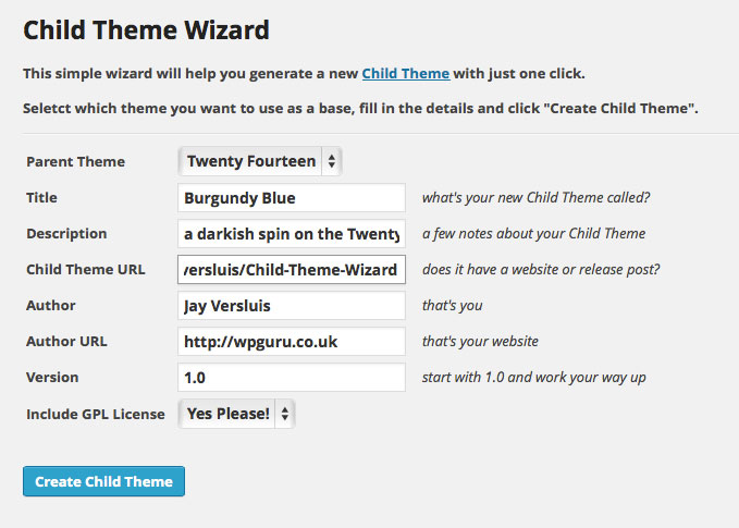 create a Child Theme with just one click