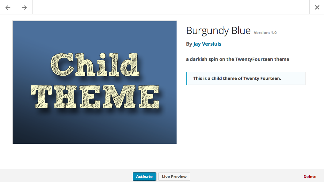 you also get a nice thumbnail with your new child theme