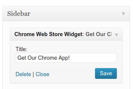 Adding the Google Webstore Widget is simple! Add it Under Appearance->Widgets.