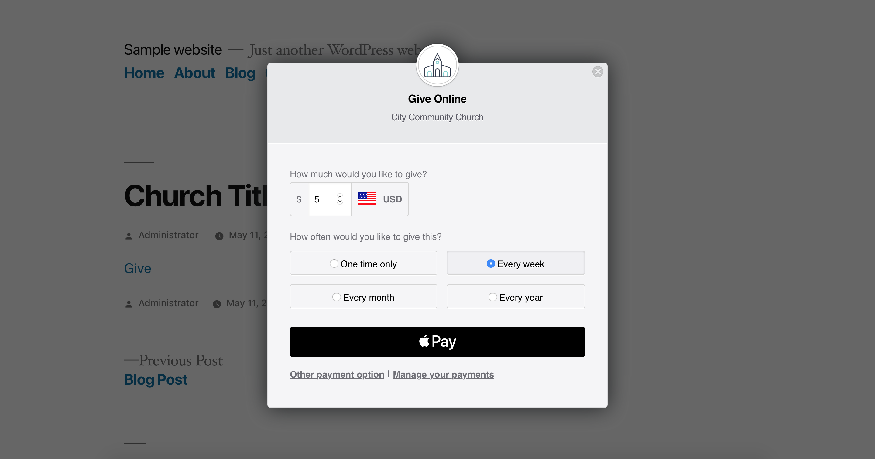 The tithe form using Apple Pay.