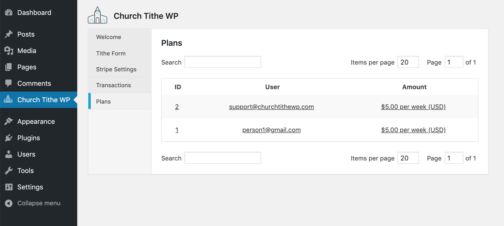 The admin-side list of all plans by all users.
