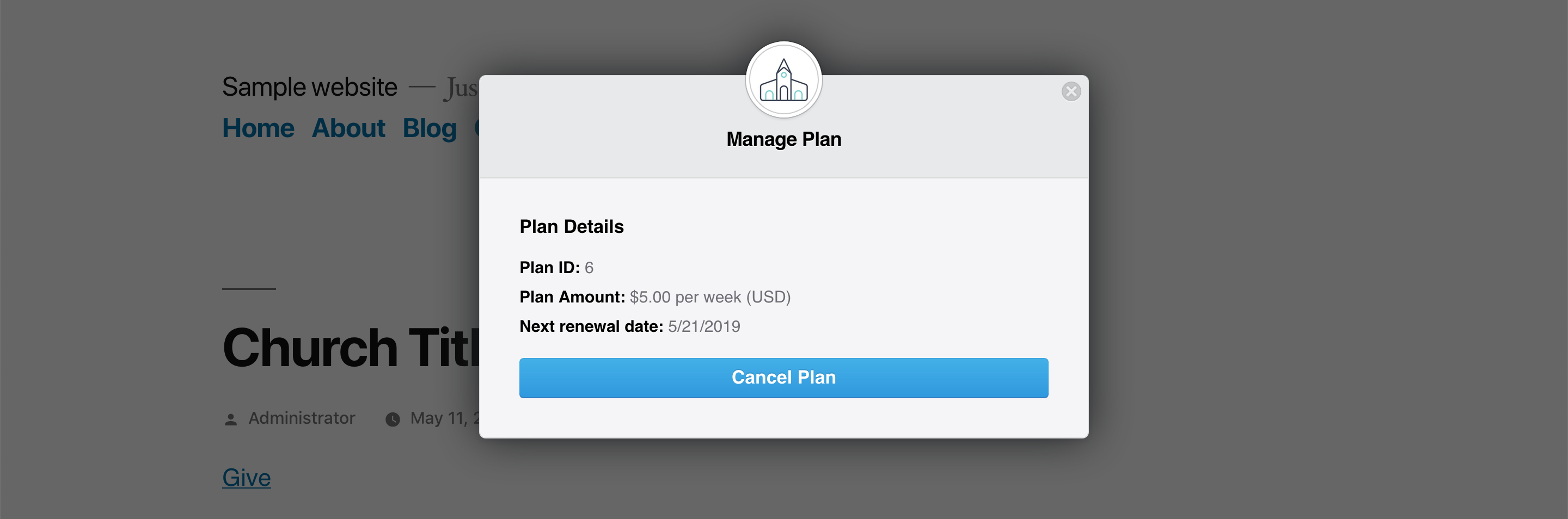 The single-details for a plan, with the option to cancel.
