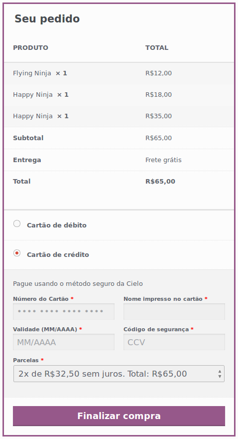 cielo-woocommerce screenshot 3