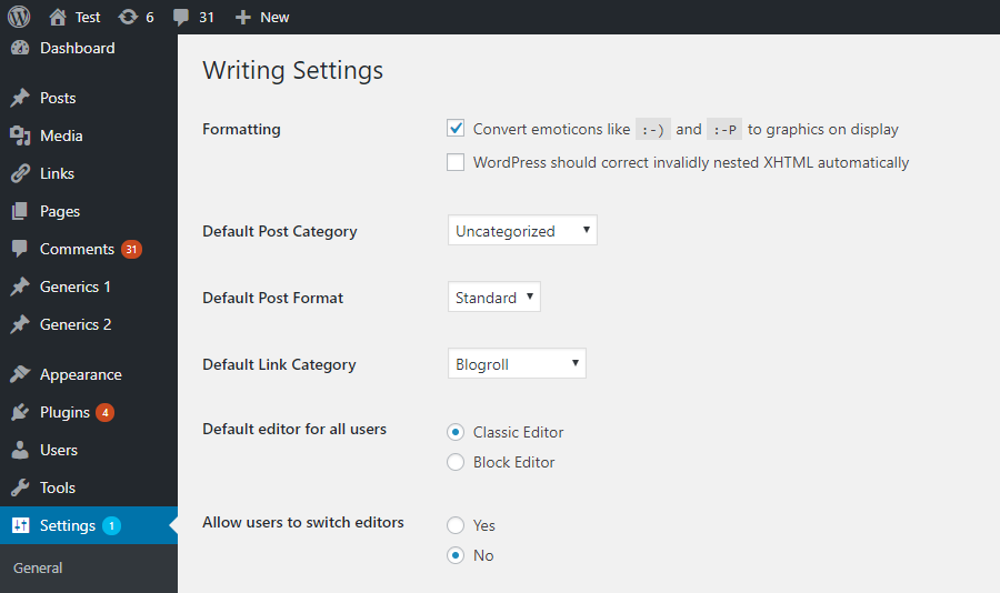 Admin settings on the Settings -> Writing screen.