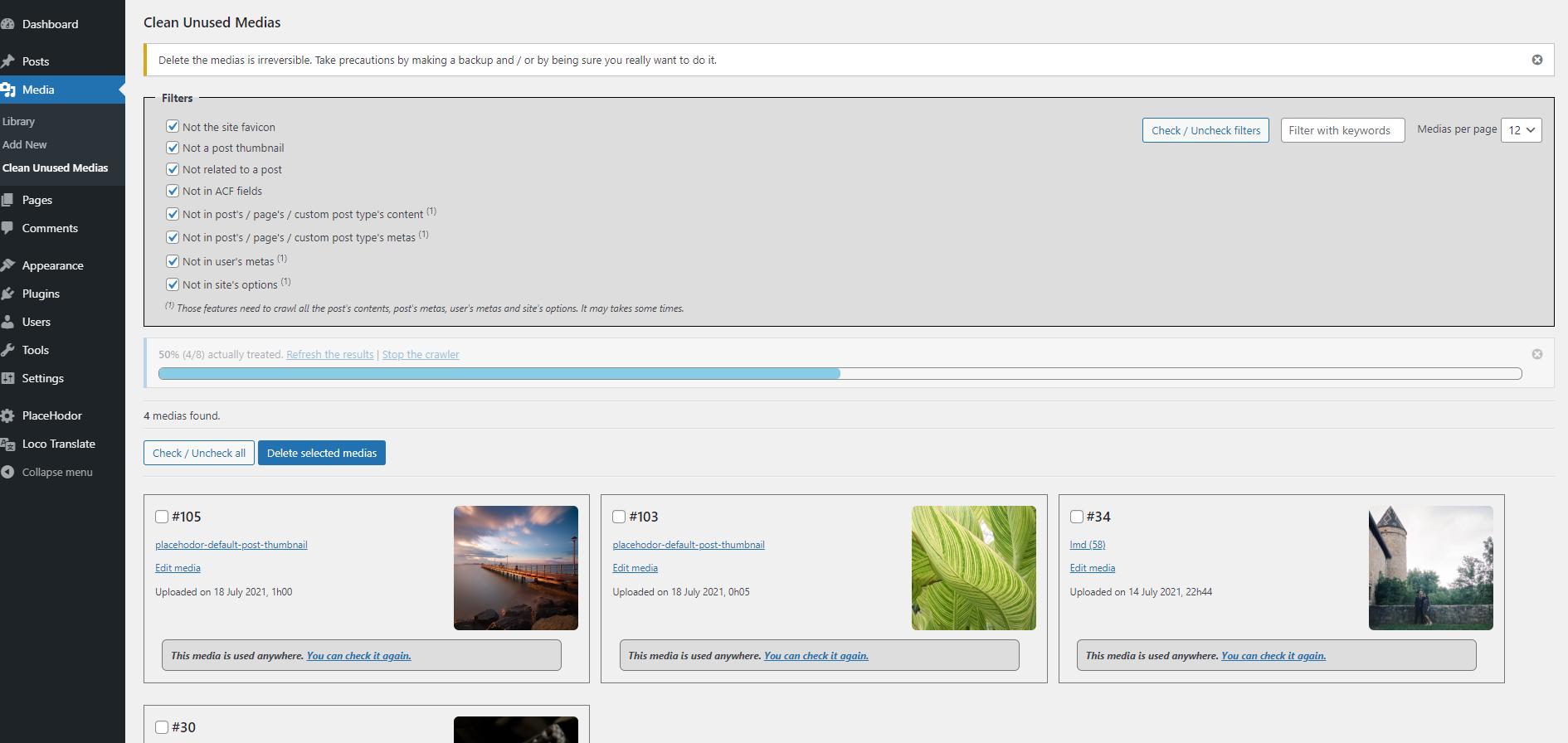 使われていない不要な画像を検索して削除するプラグイン「Clean Unused Medias」の画像 Knowledge Base