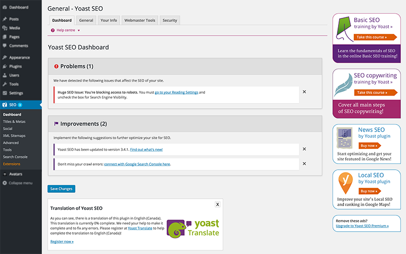 Yoast SEO plugin before using Clean Up WordPress Plugin