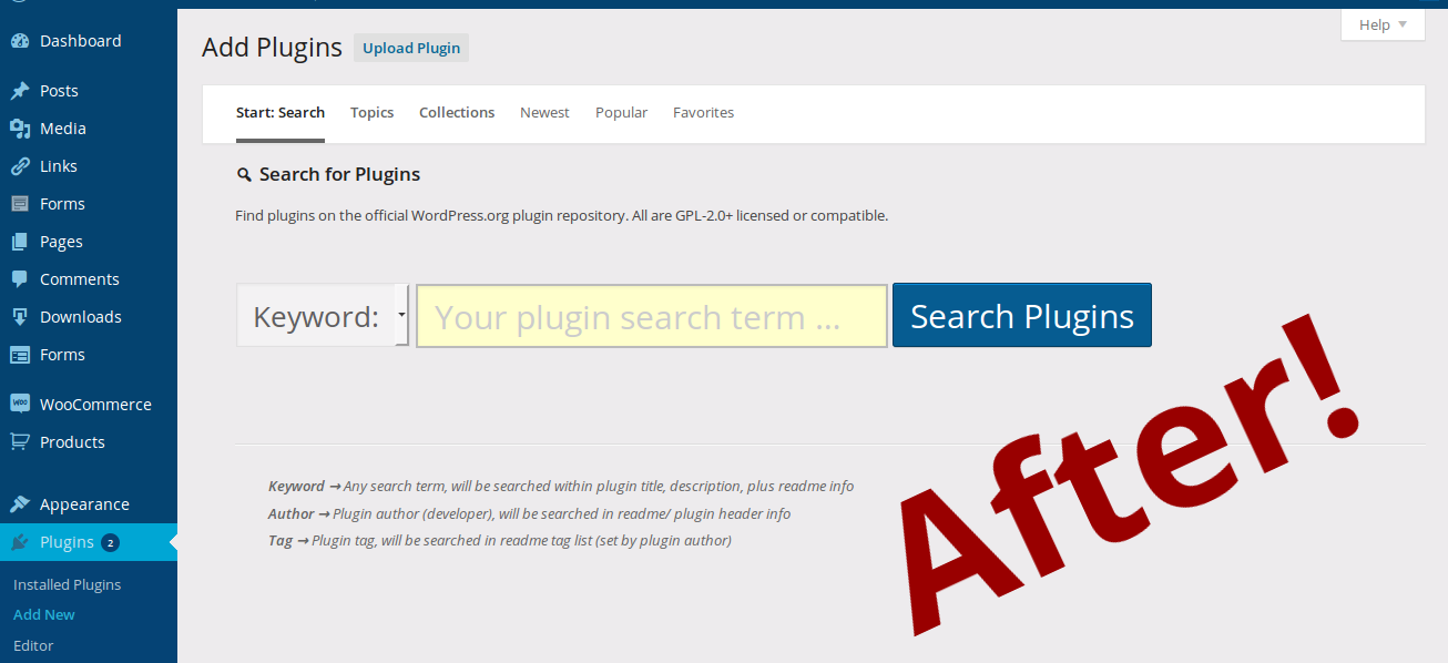 "<p>Cleaner Plugin Installer: AFTER view of the ""Plugins > Add Plugins"" admin page (Add New), after activating this plugin. (<a href=""https://www.dropbox.com/s/sclx8djssnngnqa/screenshot-2.png?dl=0"">Click here for larger version of screenshot</a>)</p>"