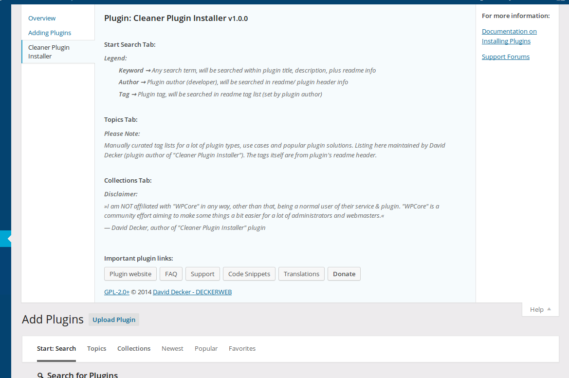 "<p>Cleaner Plugin Installer: Plugin's help tab. (<a href=""https://www.dropbox.com/s/f8cex53no2go08s/screenshot-11.png?dl=0"">Click here for larger version of screenshot</a>)</p>"