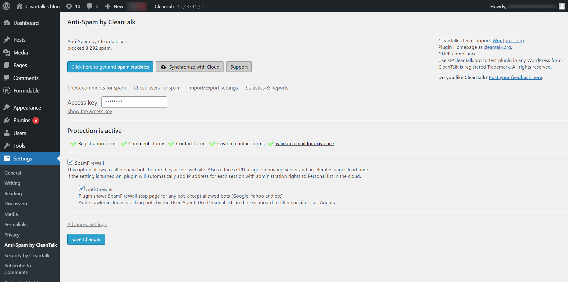Spam protection FireWall, AntiSpam by CleanTalk