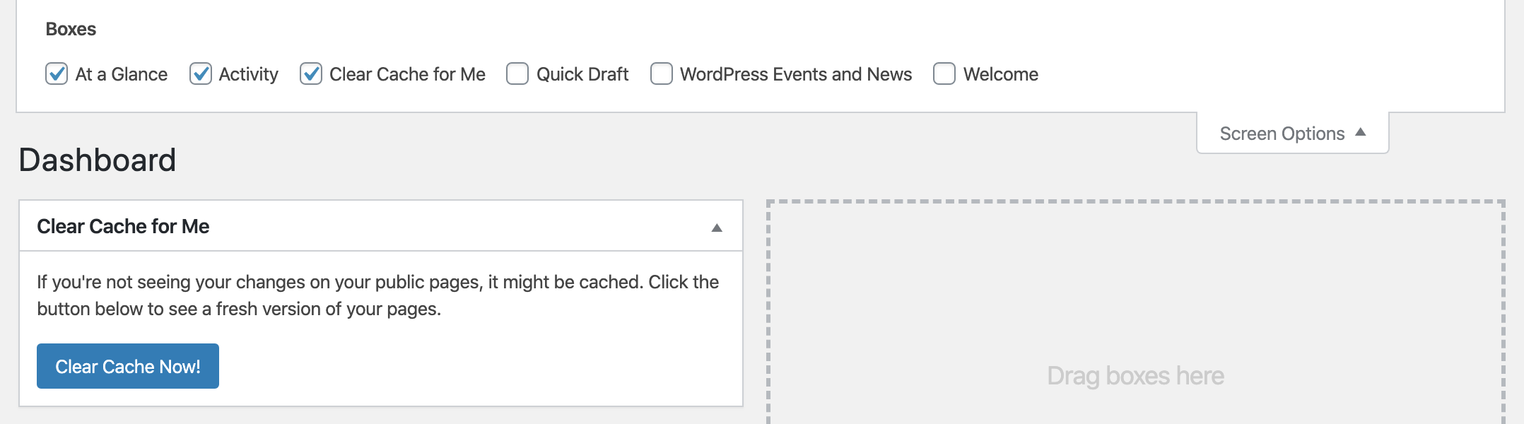 Clear Cache for Me – WordPress plugin | WordPress org