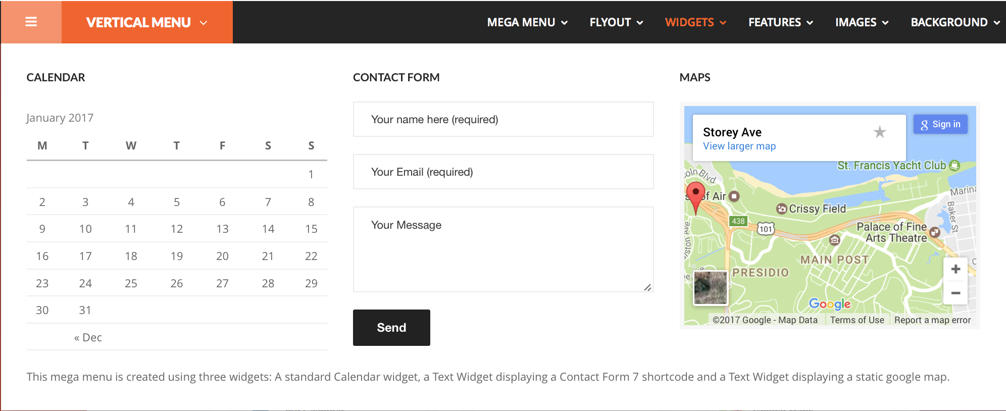 Front-end screen of the <strong>Widgets</strong> menu item.