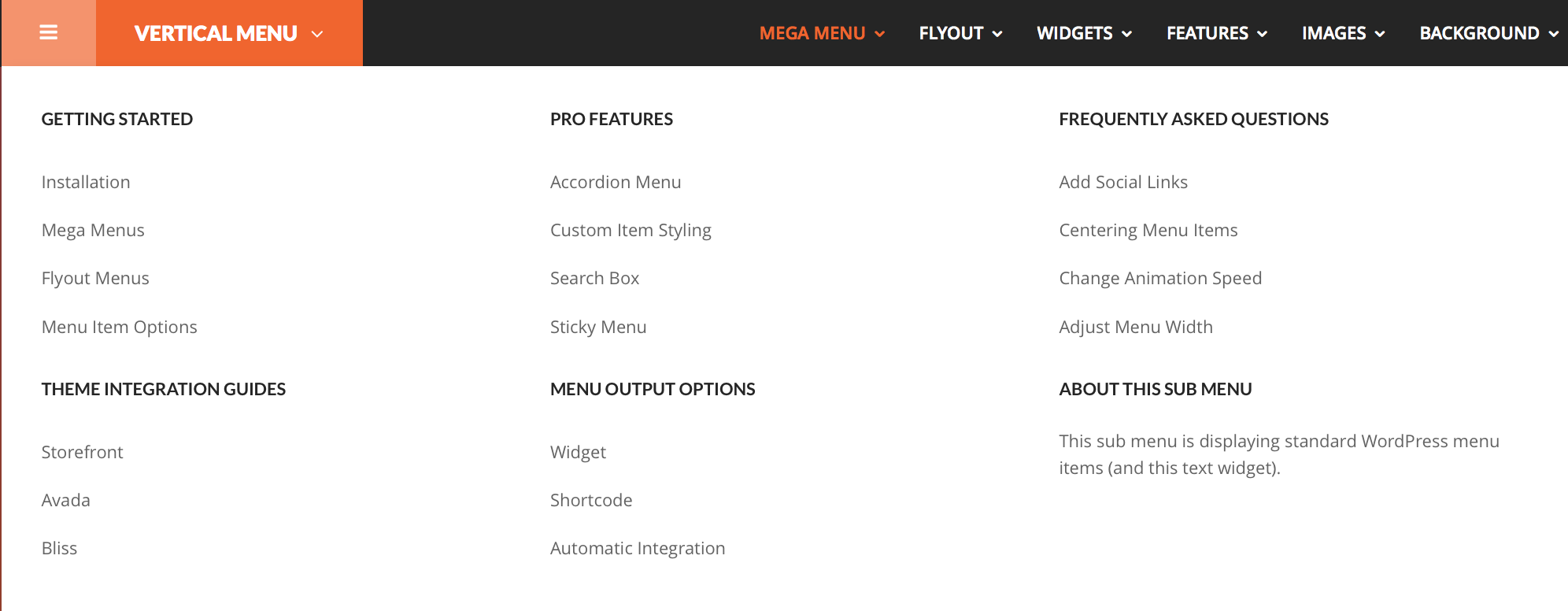 Other front-end screen of a multiple WP Custom Menu inside a mega panel.