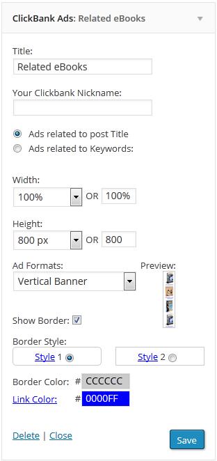 """ClickBank Ads"" Affiliate Plugin options for widget area"