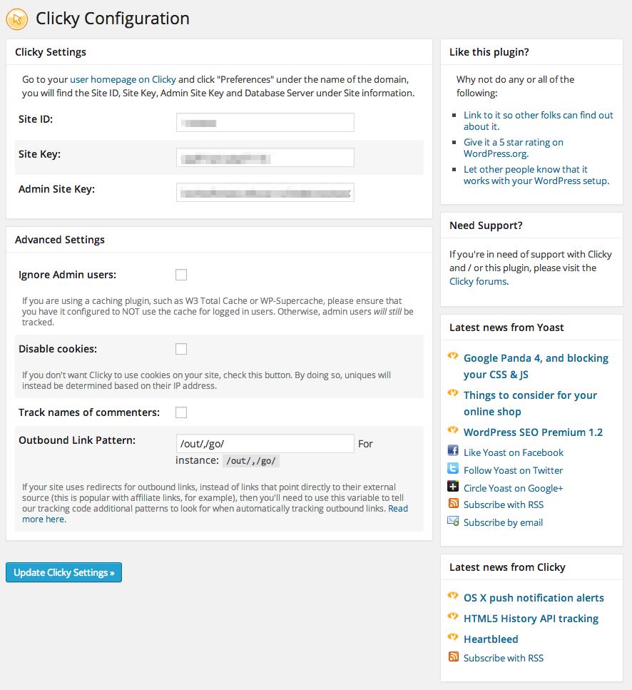 The Clicky WordPress plugin settings panel.