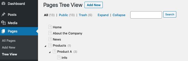 CMS Tree Page View