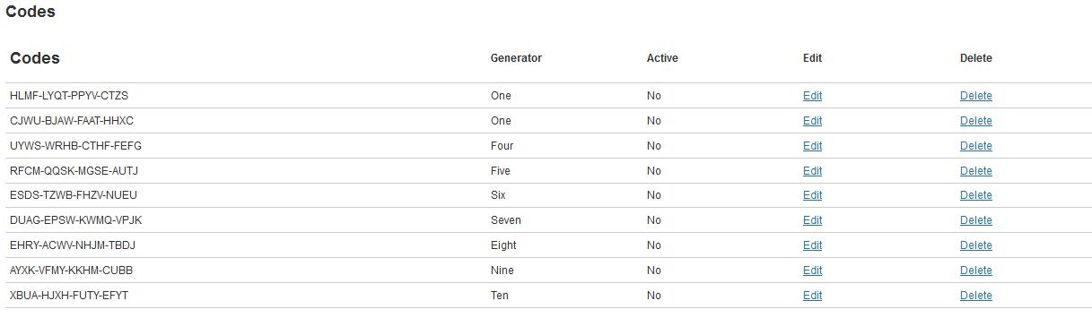 <p>Generator Codes.</p>