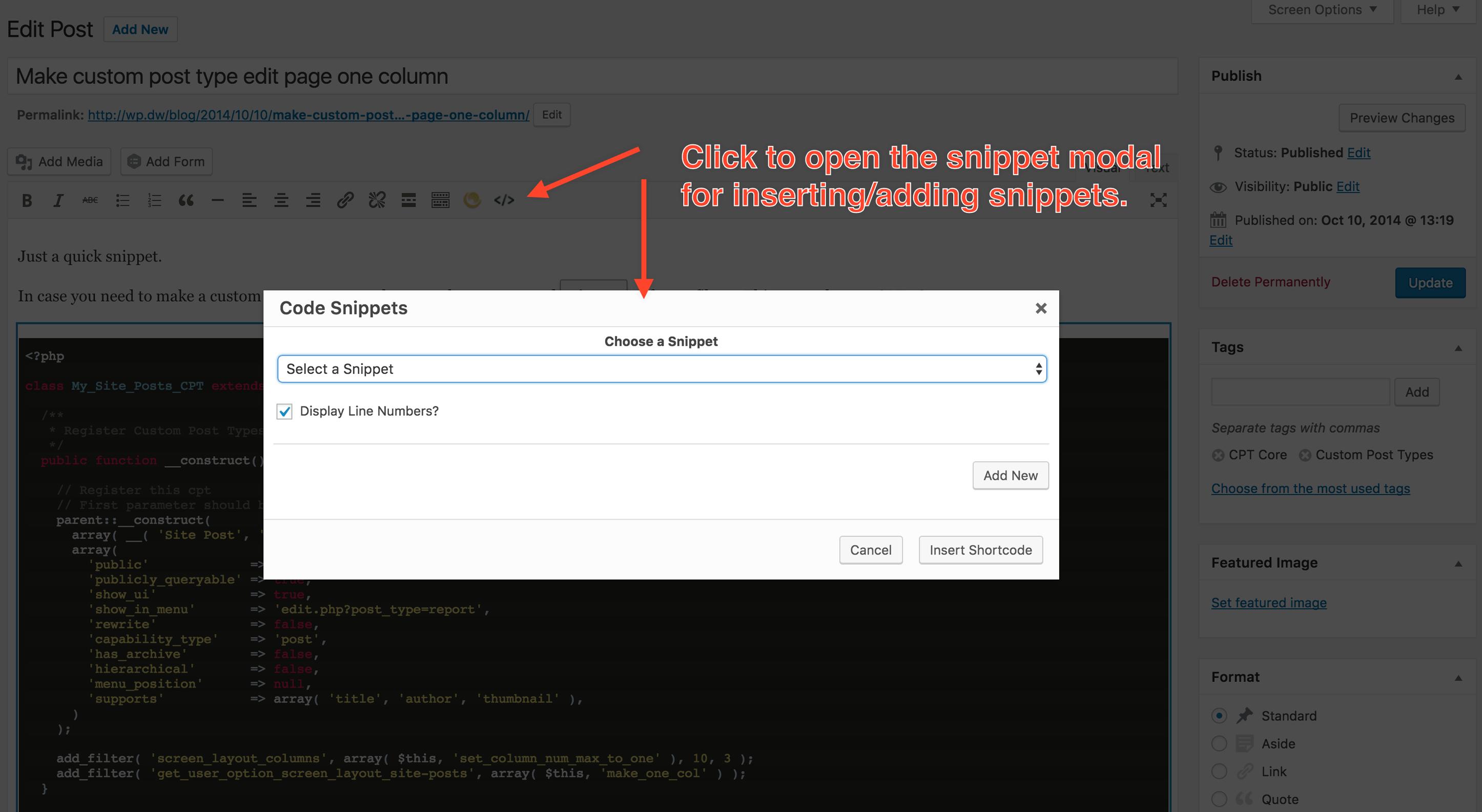 Code snippet insert button/modal
